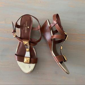 Kate Spade Denver Stud Brown Wedge Sandal Size 6
